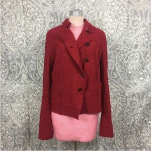 Free People Red Asymetrical Button Down Jacket